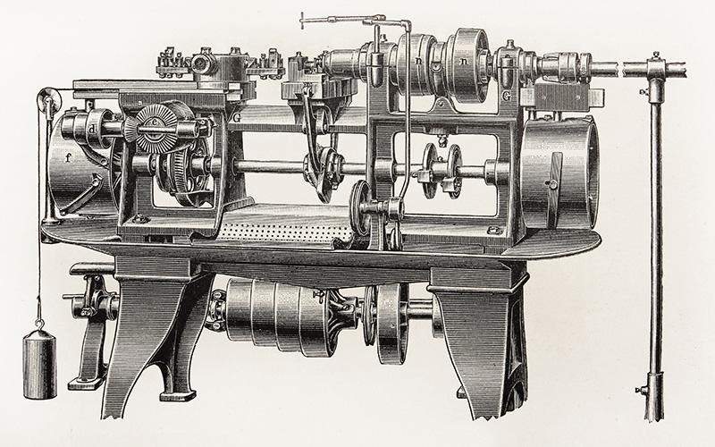 Historische Maschine für Stahlproduktion und -fertigung